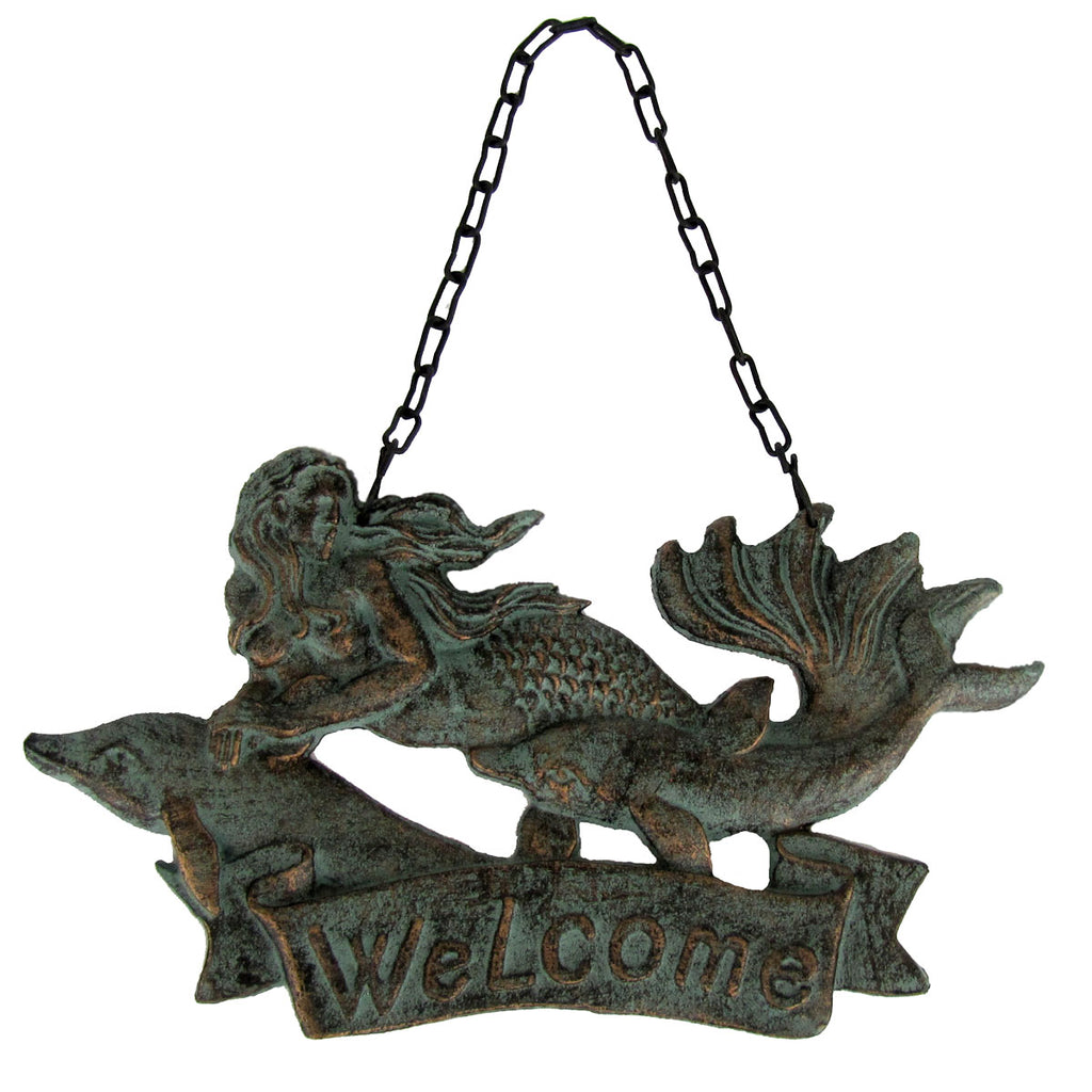 Metal Mermaid Beach Welcome Wall Sign