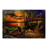 Fall Campfire at the Lake Cabin LED Light Up Canvas Print
