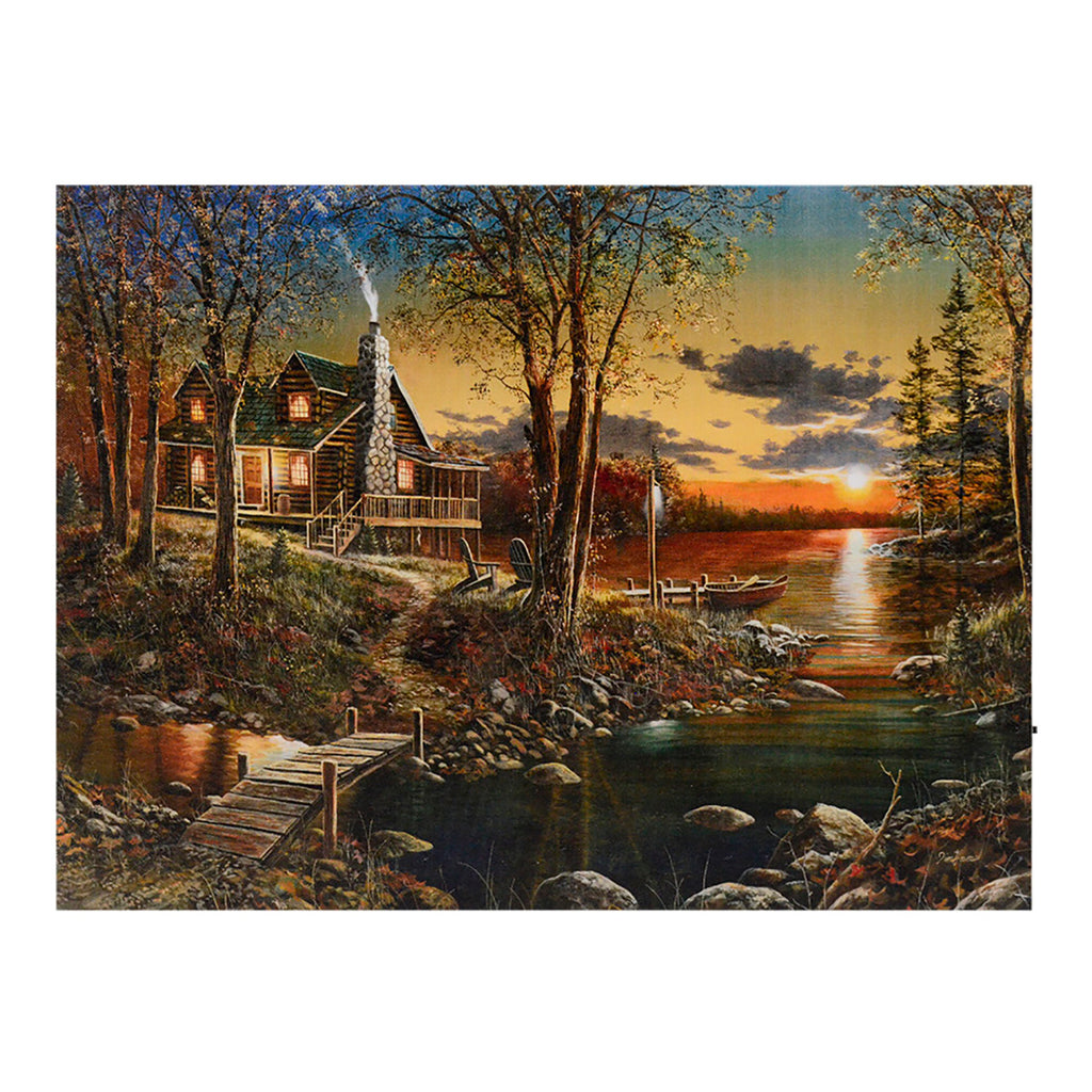 Fall Sunset at a Lake Cabin LED Light Up Canvas Print