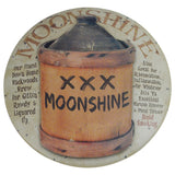 Primitive Moonshine Jug Button Tin Sign