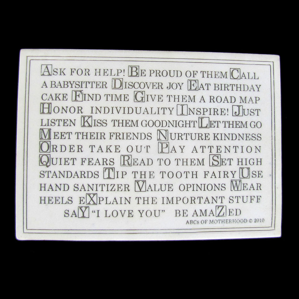 New ABC's Alphabet Of Motherhood Marble Finish Plaque with Stand
