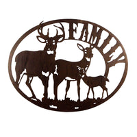 Metal Laser Cutting Deer Family Sign