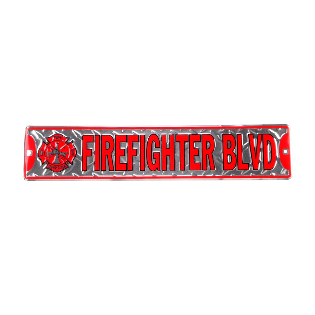 Firefighter Blvd Tin Metal Street Sign Fireman Gift