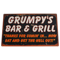 Grumpys Bar&Grill Vintage Style Tin Sign