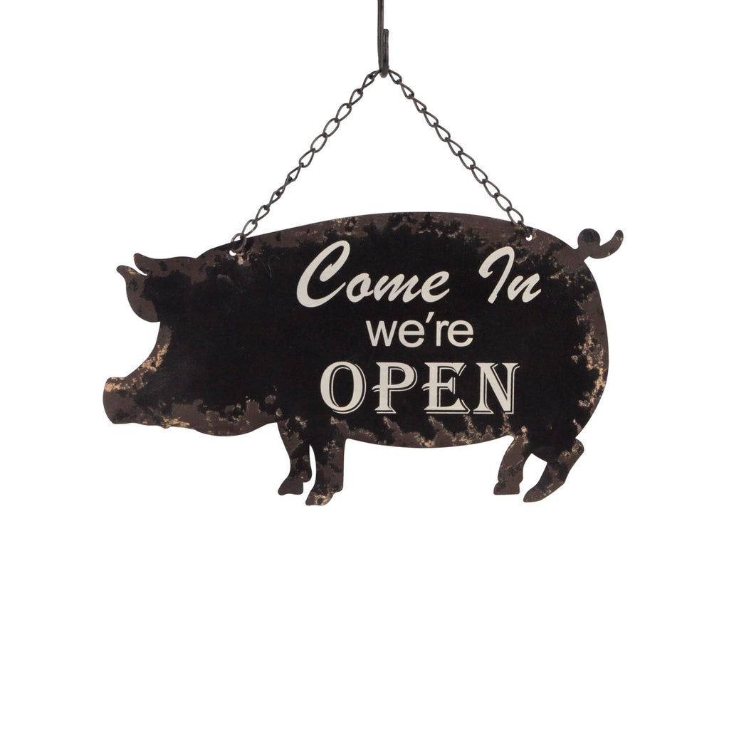 2 Sided Tin Pig OPEN CLOSED Door Sign Shop/Restaurant/Business/Store Wall Decor