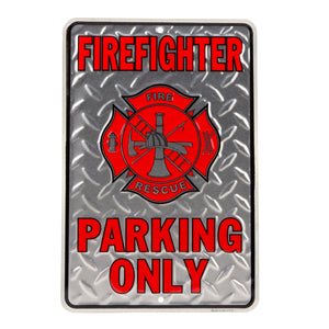 Firefighter Parking Only Embossed Diamond Plate Tin Sign