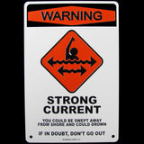 Warning Strong Current Wall Sign