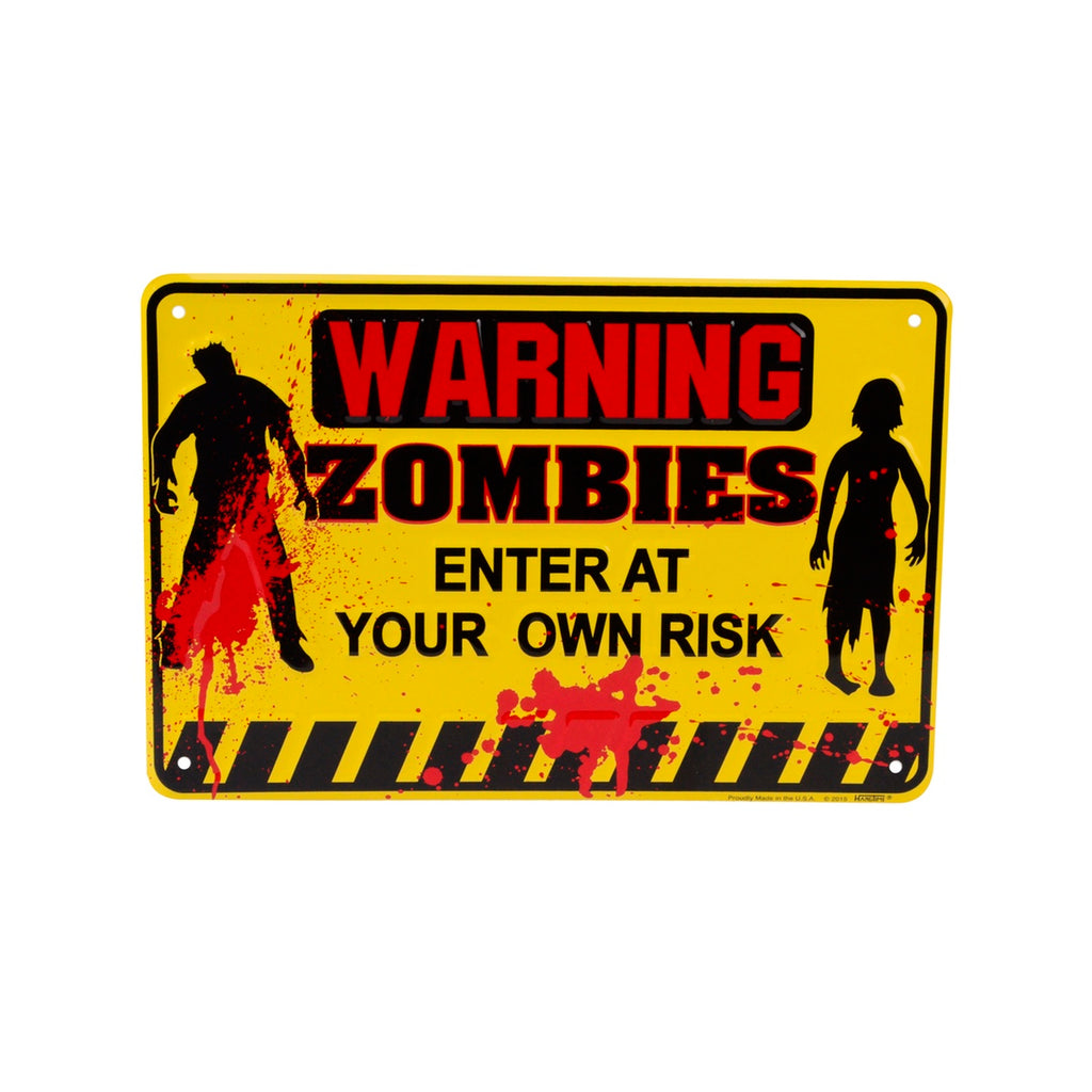 Yellow Metal Warning Zombies Halloween Door Sign