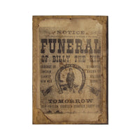 Outlaw Billy the Kid Wood Funeral Poster Bar/Pub Sign Old West Decor