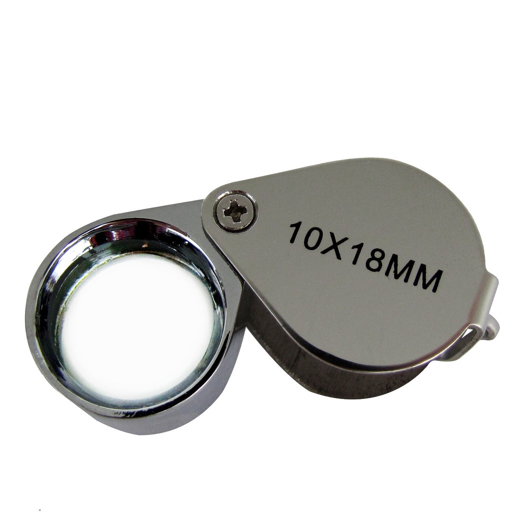 Pocket Folding Jewelers Hand Loupe 10x18mm Jewelry Magnifier