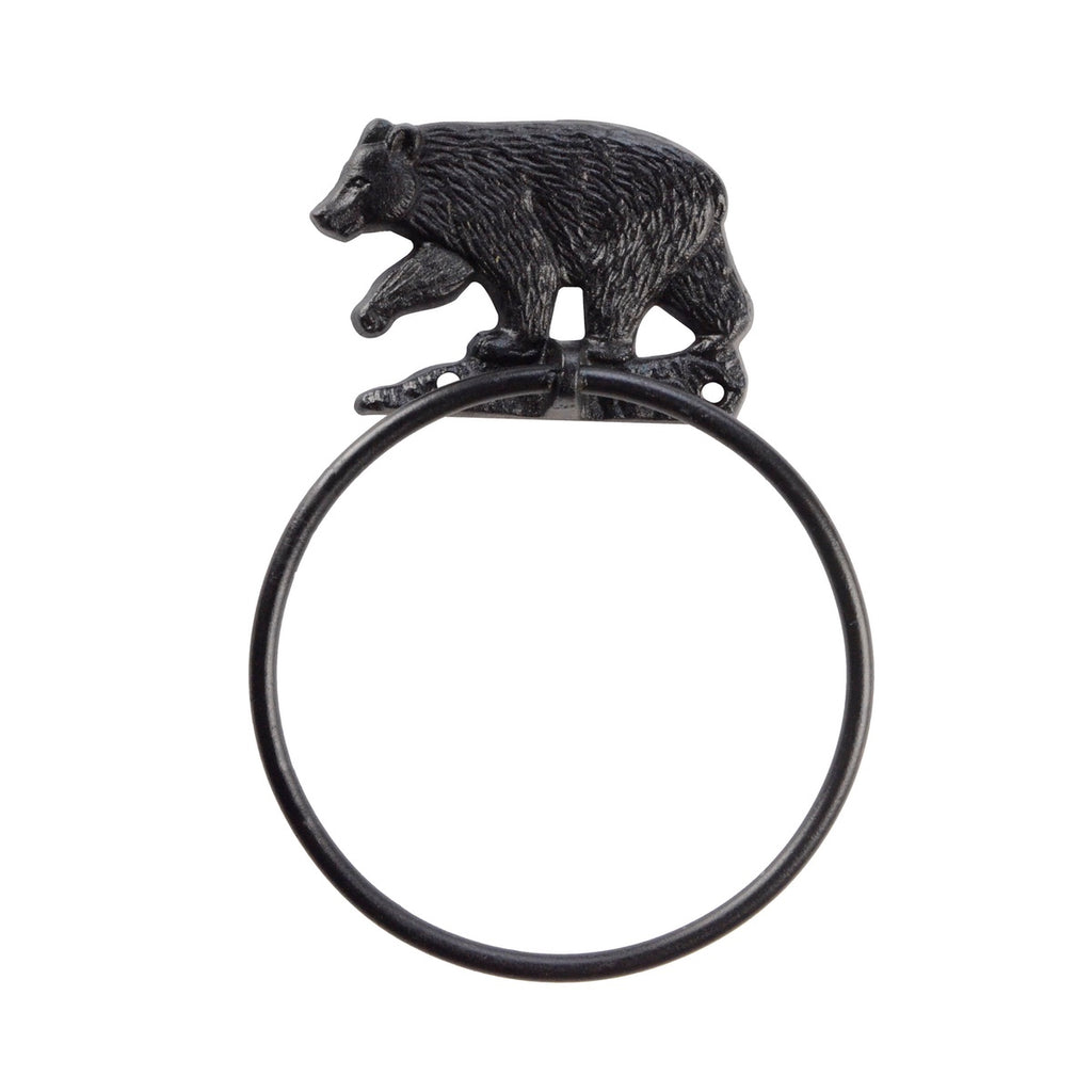 Black Cast Iron Bear Bath/Kitchen Towel Ring Holder Wall Mount