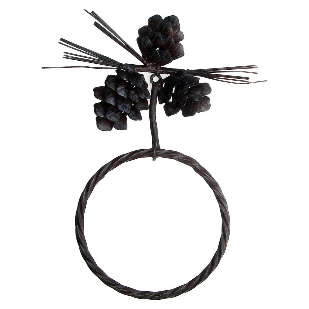Rustic Pinecone Towel Ring Hanger Bath Rack