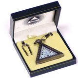 Freemason Mens Pocket Watch w/ Chain Masonic Triangle Shaped Watch w/ Quartz Movement