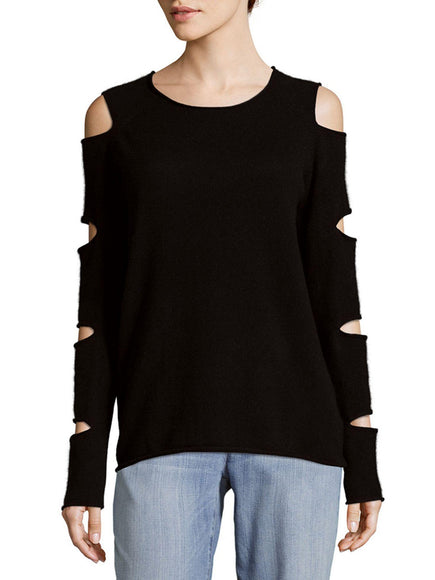 Skull Cashmere Slash Crew Neck Sweater