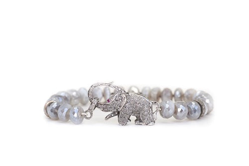 S. Row Designs Labradorite Stone with Diamond Elephant Clasp Bracelet