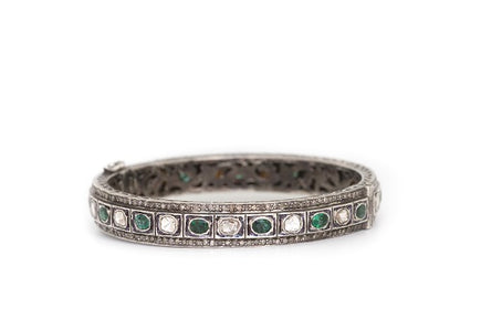 S.Row Designs Diamond and Emerald Slice Bangle