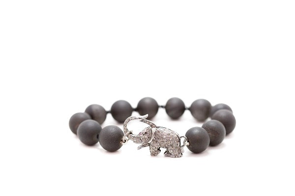 Druzy Stone Beaded Bracelet with Pave Diamond Elephant Clasp
