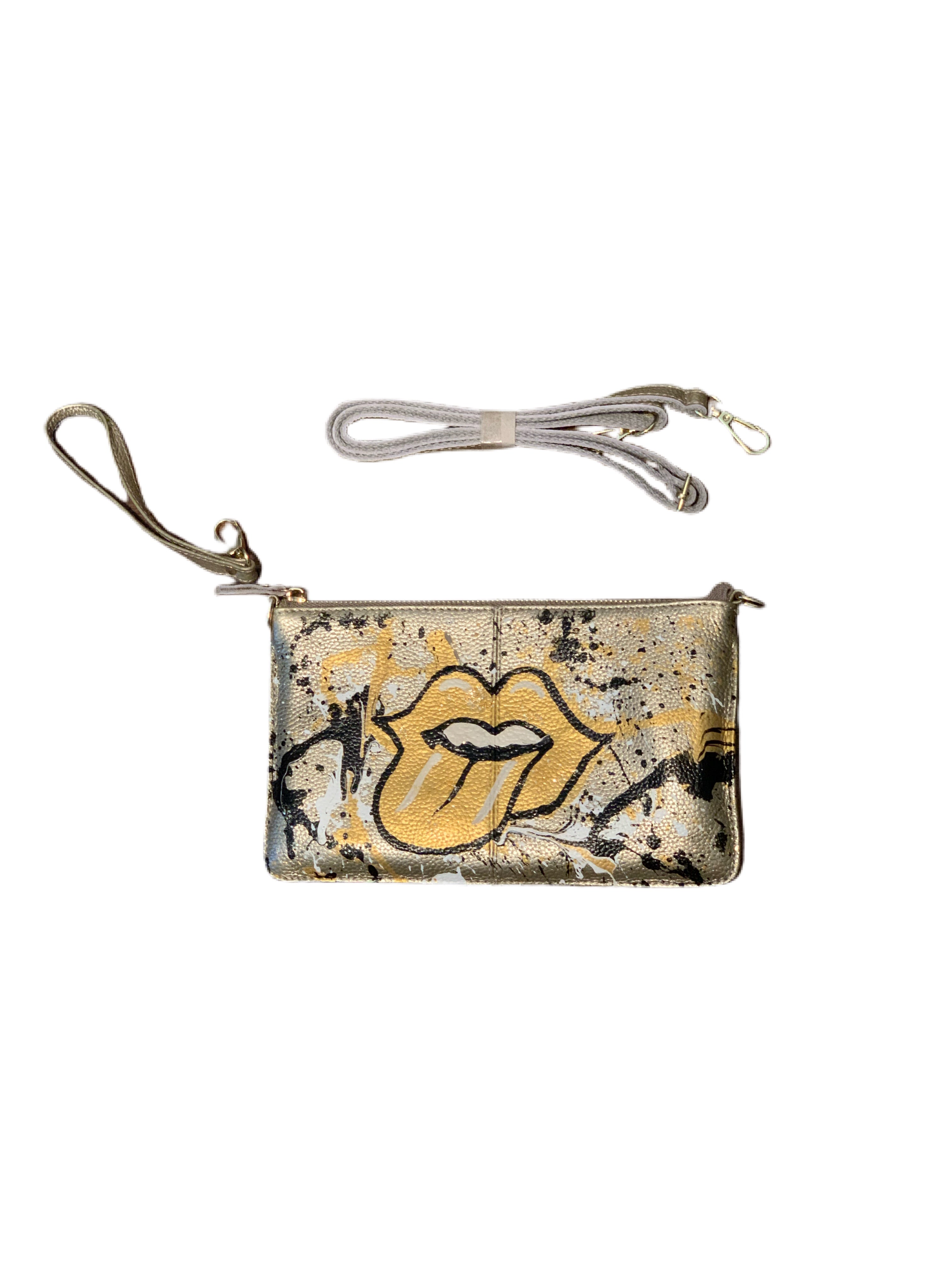 Handpainted Gold Lips Wristlet/Crossbody