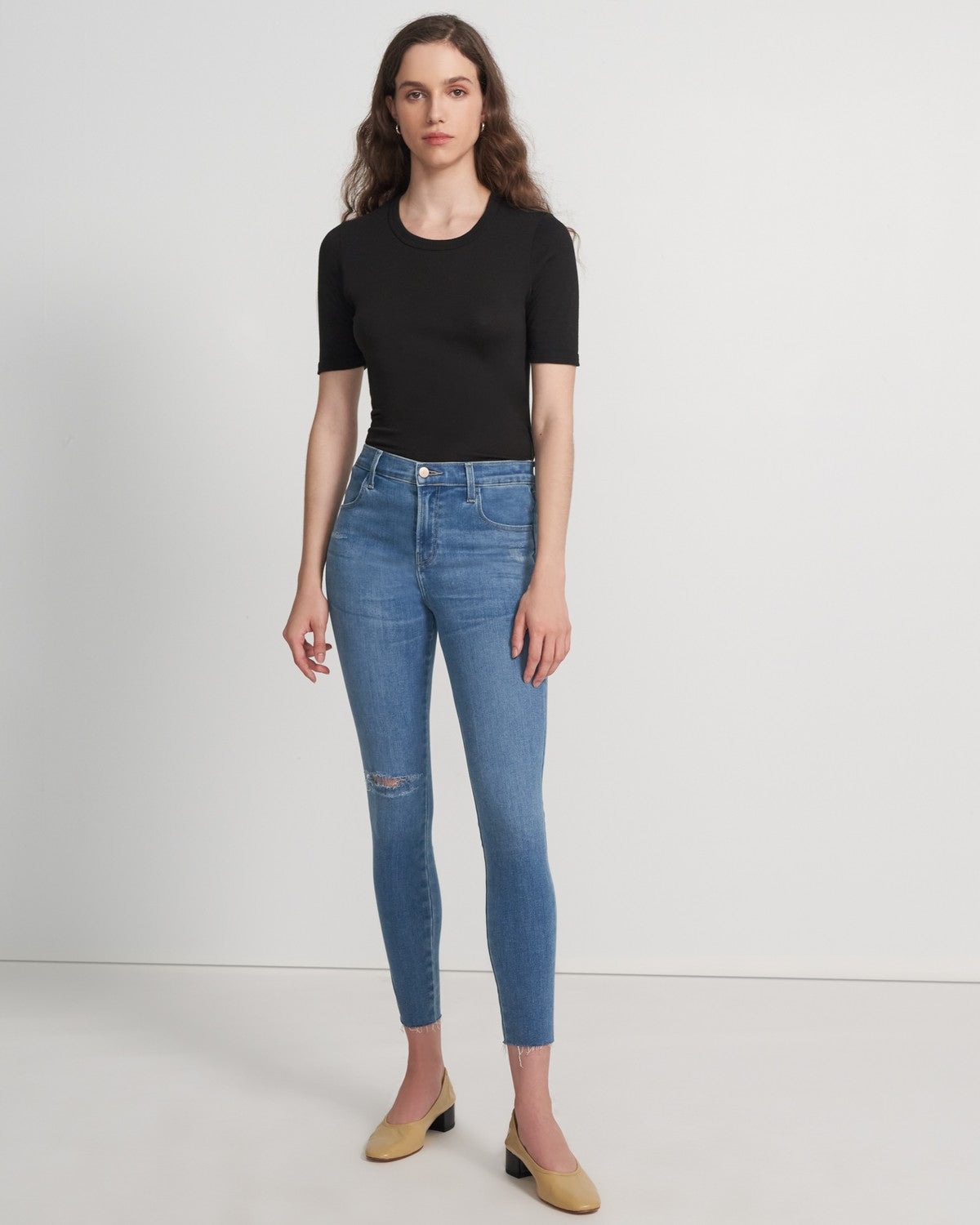 J Brand Alana High Rise Crop Skinny in Limitless Joy Destruct