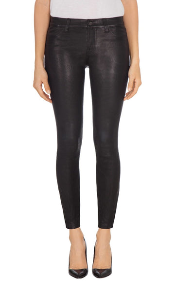 J Brand Mid Rise Skinny Leather Pants Black