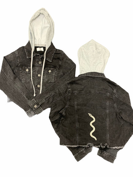 "Collab Hooded ""Charmed"" on Black Denim Jacket"