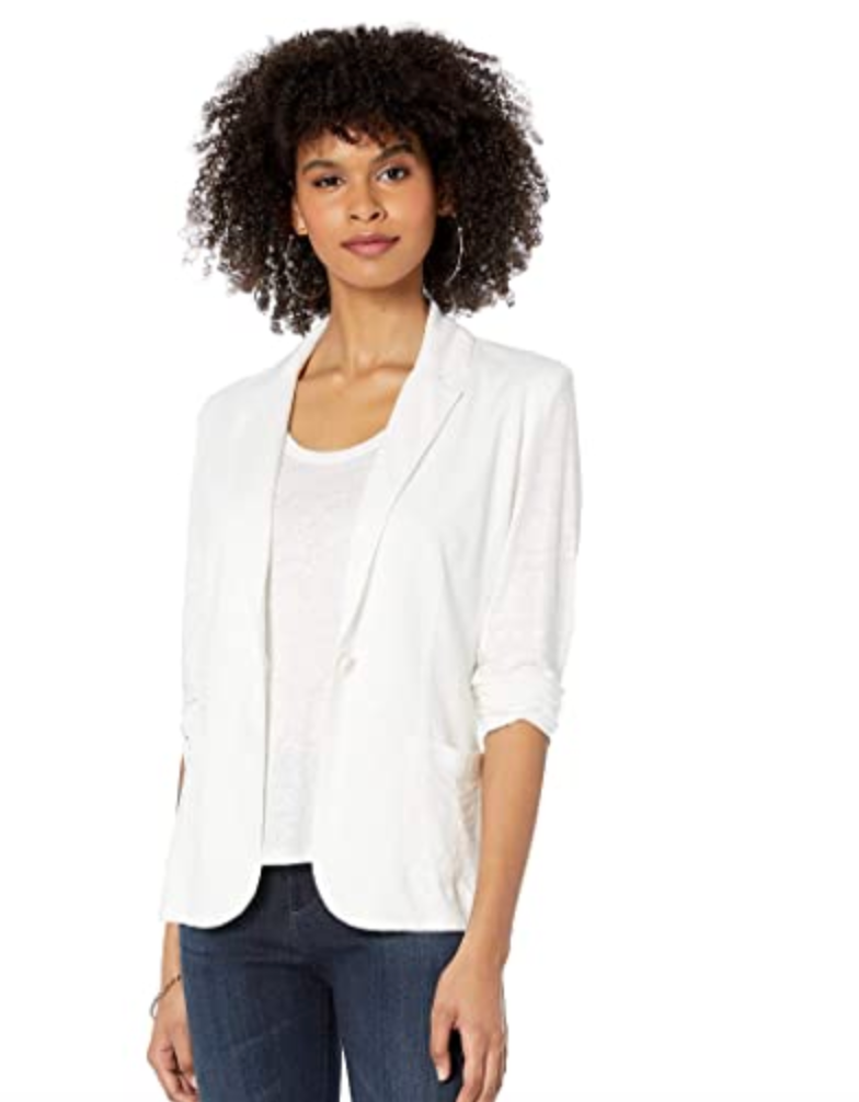 Majestic Linen/Elastane One Button Blazer