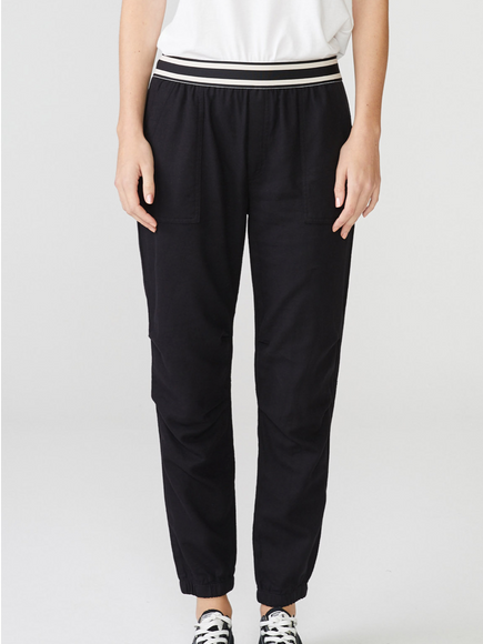 Monrow Stripe Elastic Jogger W/ Patch Pockets