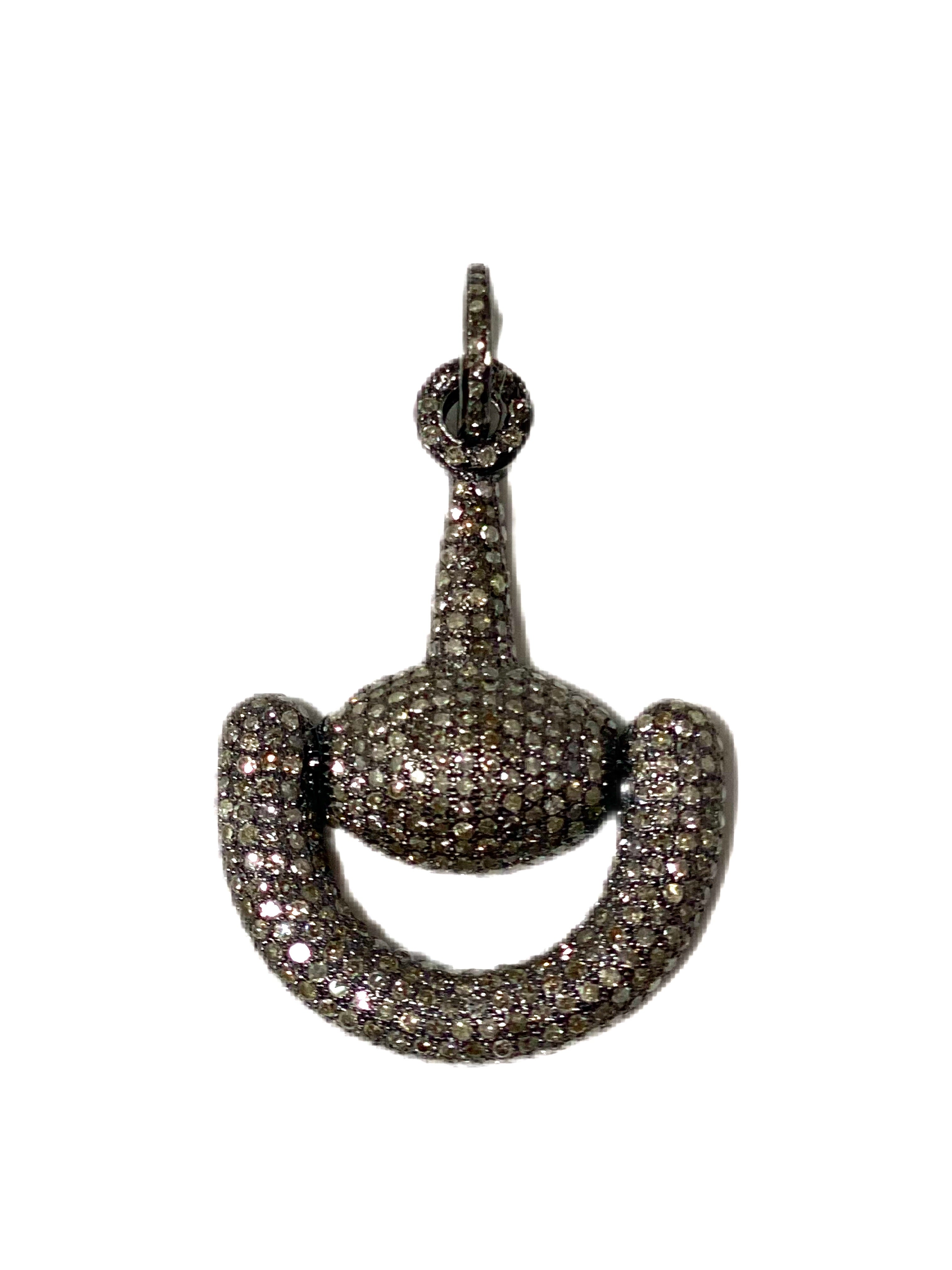 S.Row Designs Silver Pave Diamond Horse Bit Pendant
