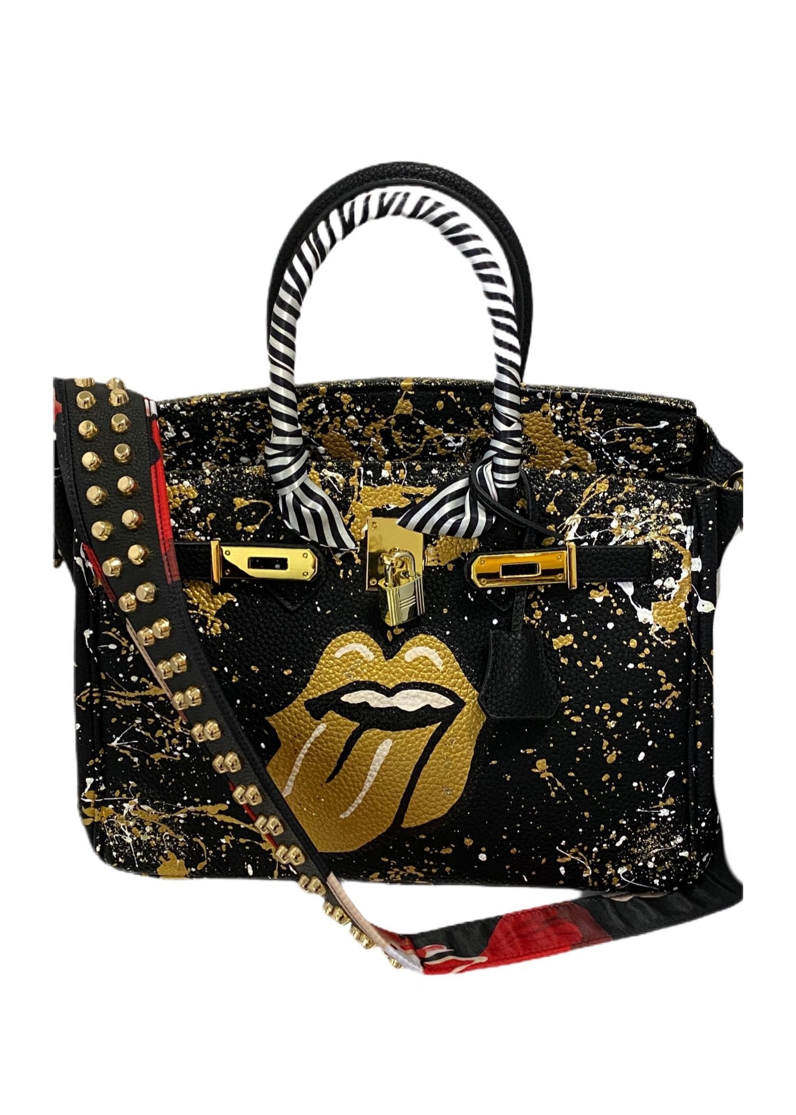 Handpainted Leather/Gold Lips Handbag