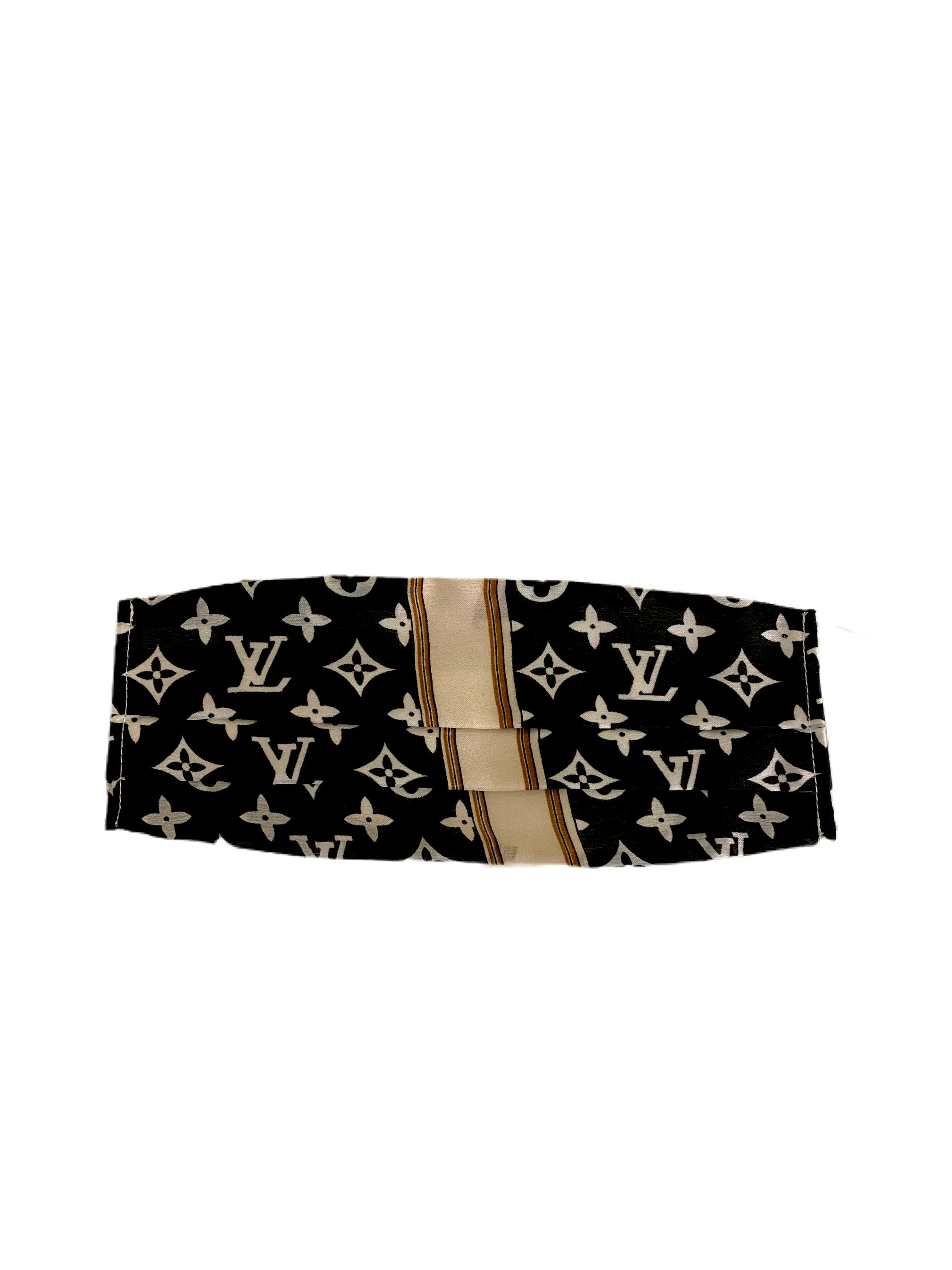 Louis Vuitton Black/Ivory Logo with Stripe Silk Face Mask