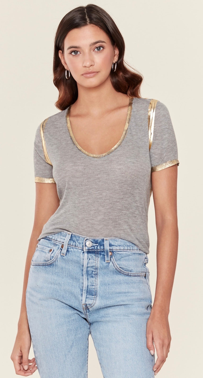 Zadig & Voltaire Tino Gold Spi Vneck tee