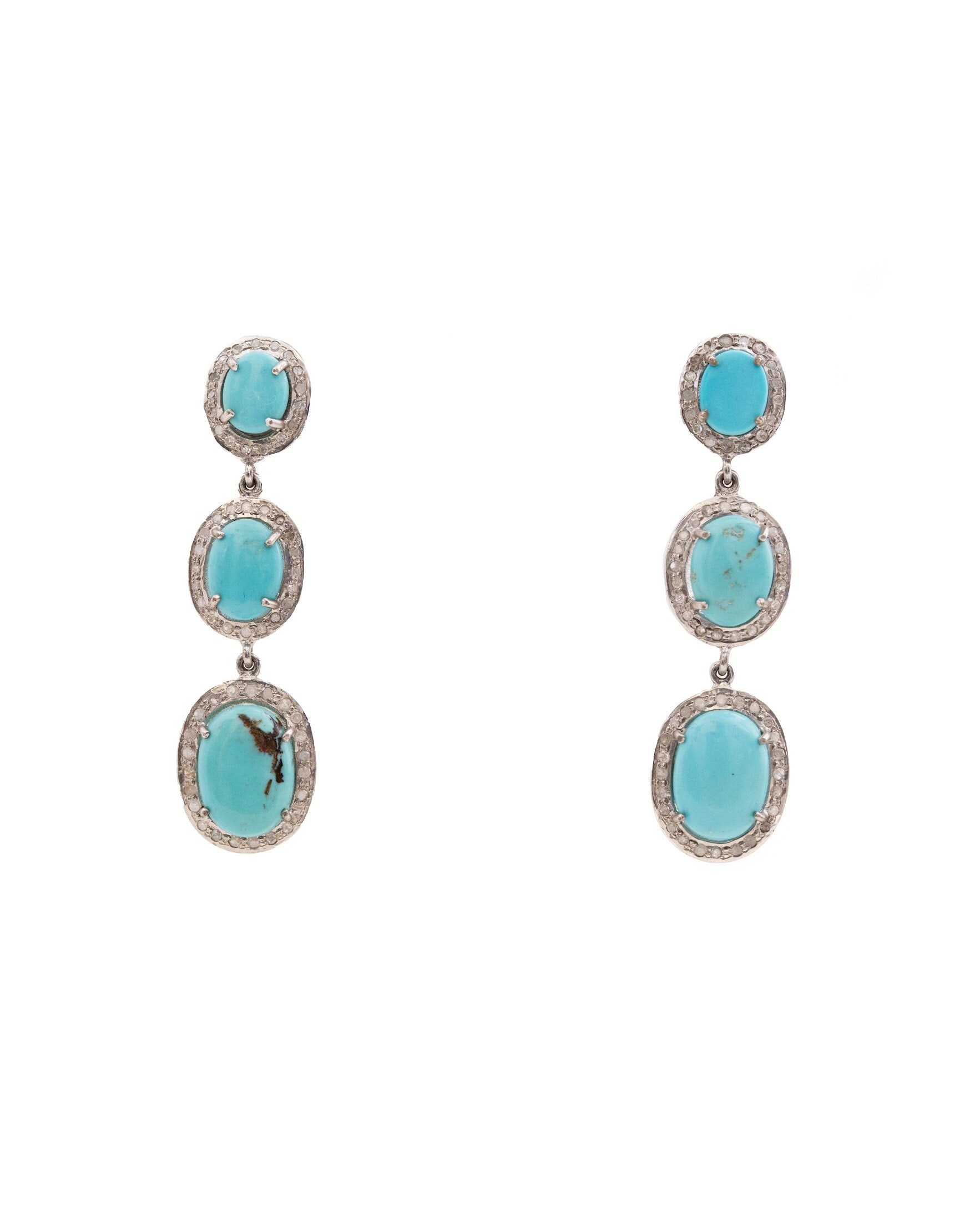 S.Row Designs Turquoise and Diamond Earrings