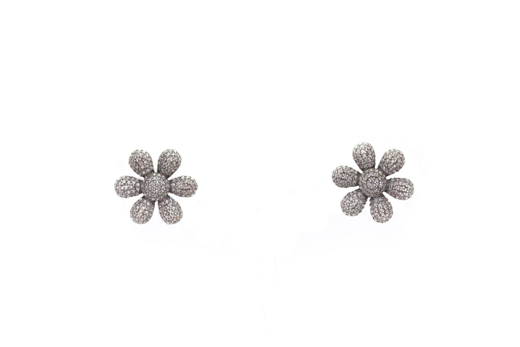 Pave Diamond Flower Studds