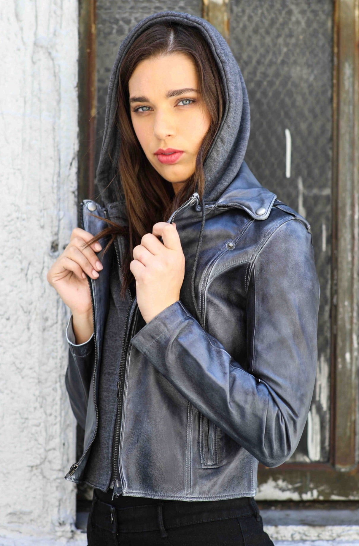 Jakett Molly Patina Burnished Hooded Moto Jacket