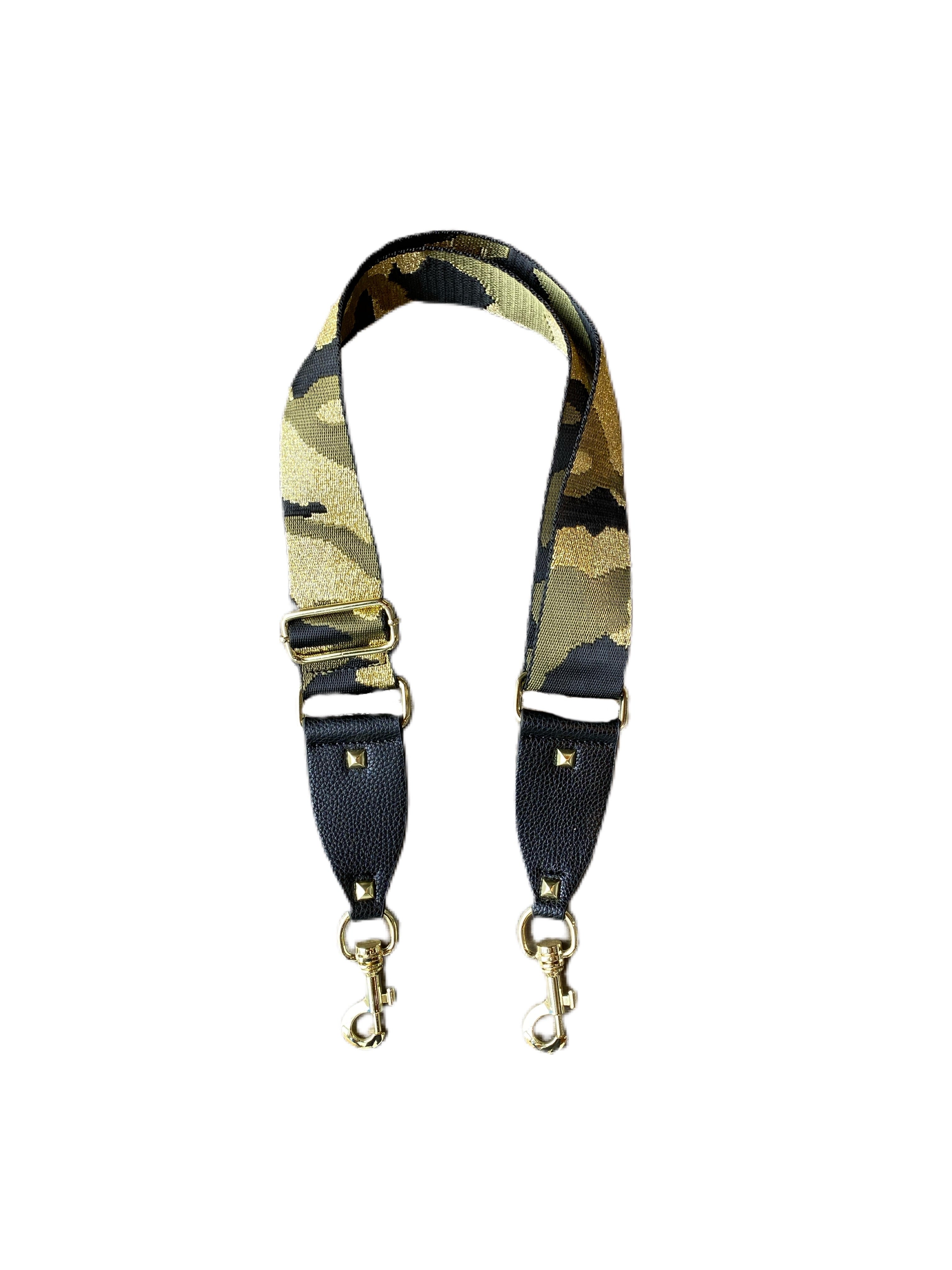 Adjustable Deluxe Bag Strap Black/Army/Gold Camouflage with Studs