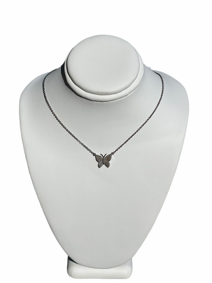 S.Row Designs Sterling Silver and Diamond Butterfly Necklace