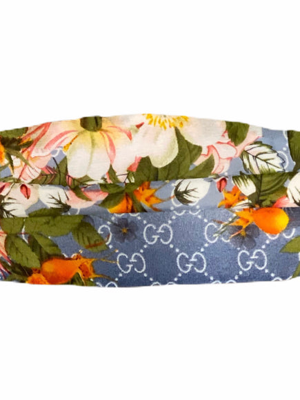 Gucci Blue Logo Floral Silk Face Mask