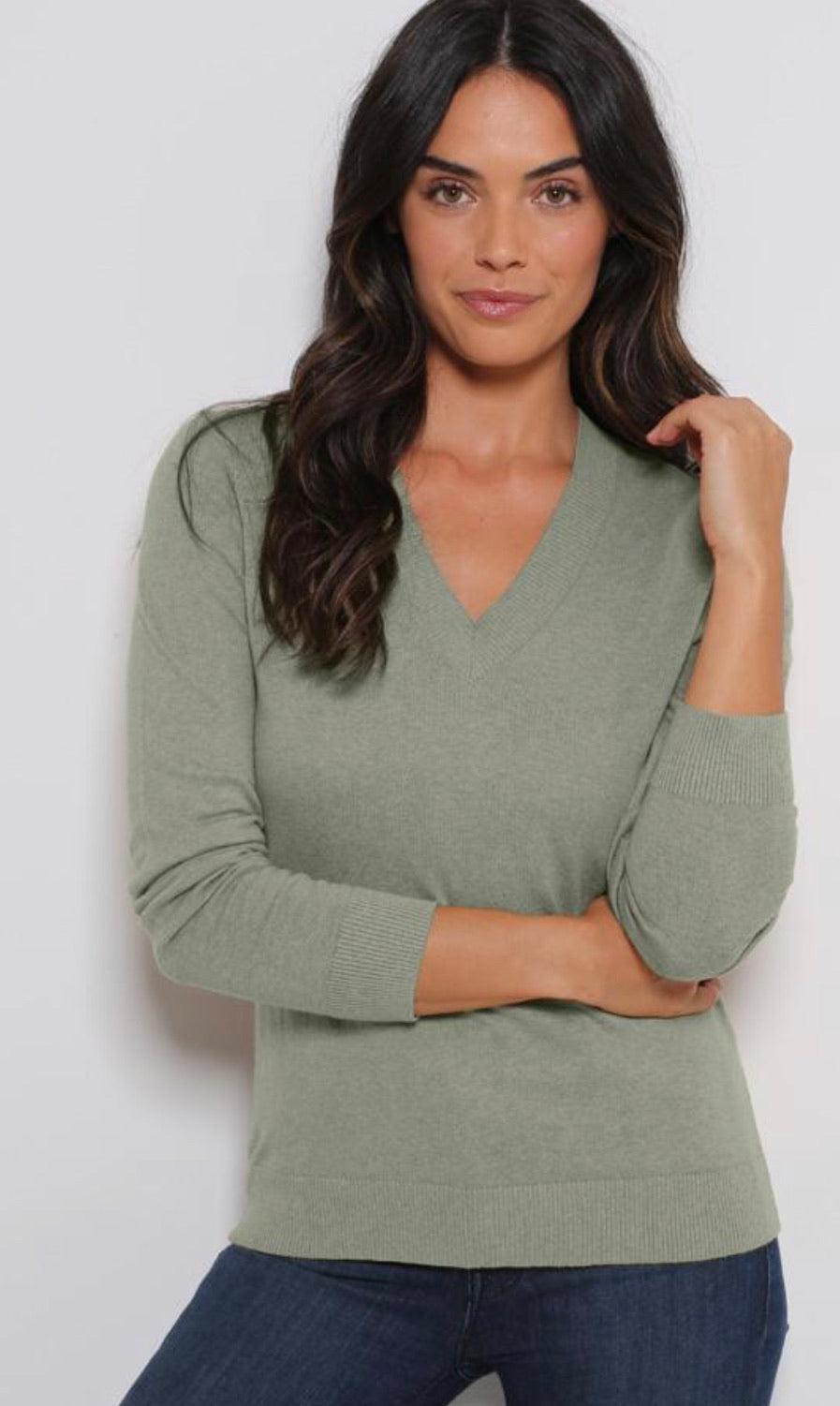 Minnie Rose Cotton/Cashmere LS V Neck Sweater