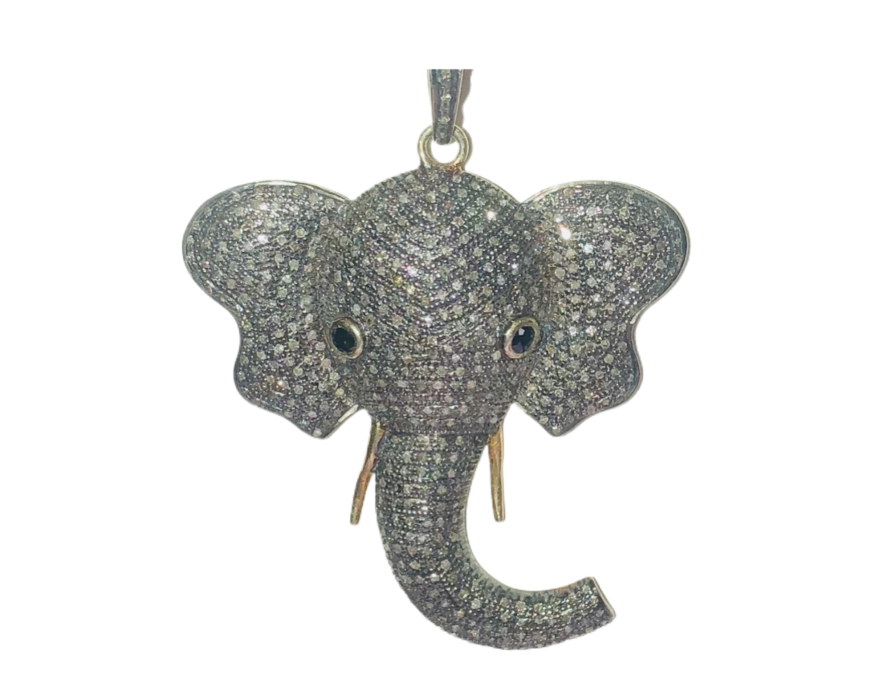 S.Row Designs Diamond Elephant Pendent with Sapphire Eyes
