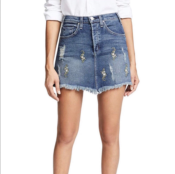 McGuire Isabel Denim Embroidered Mini Skirt