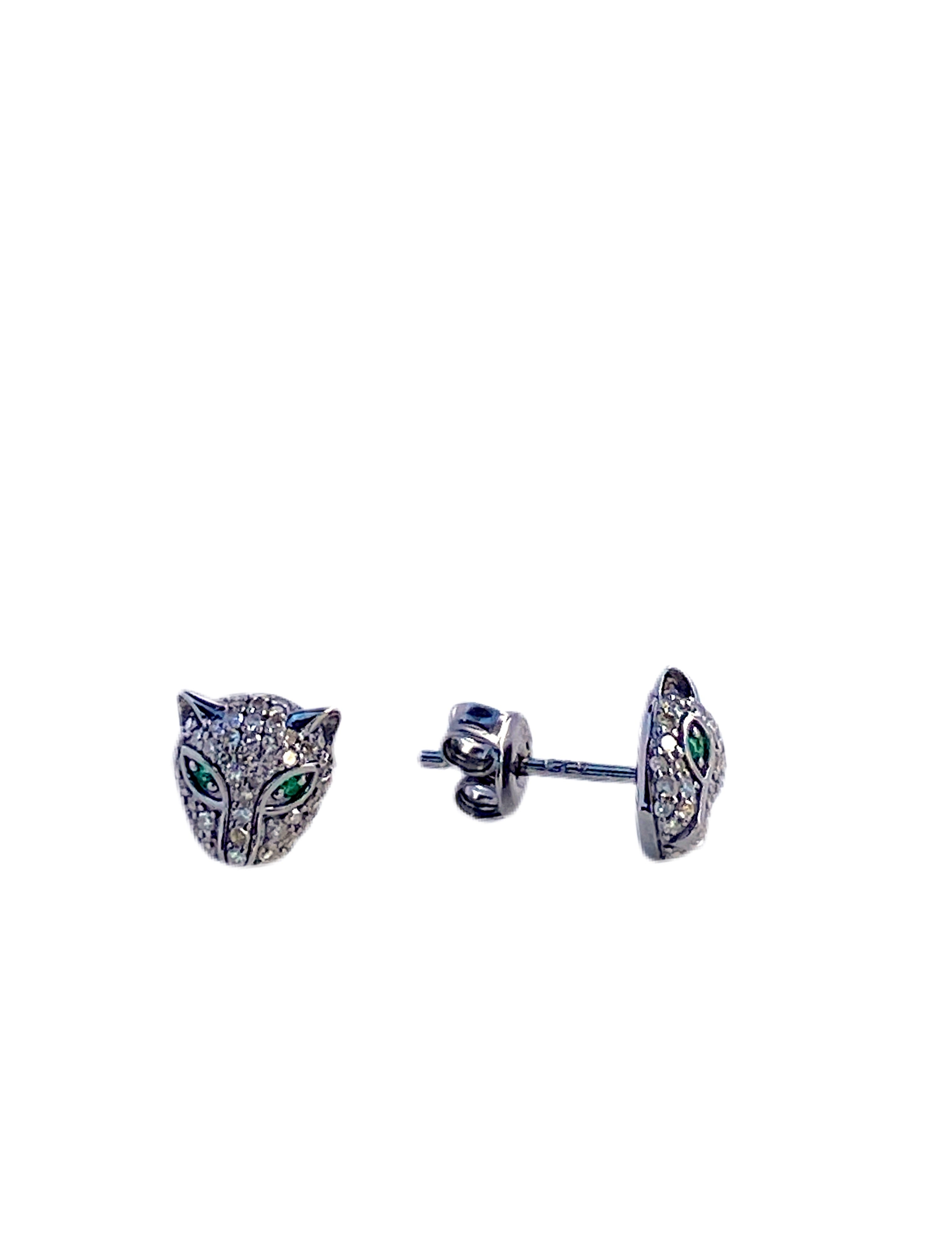 S.Row Designs Sterling Silver and Diamond Panther Earrings
