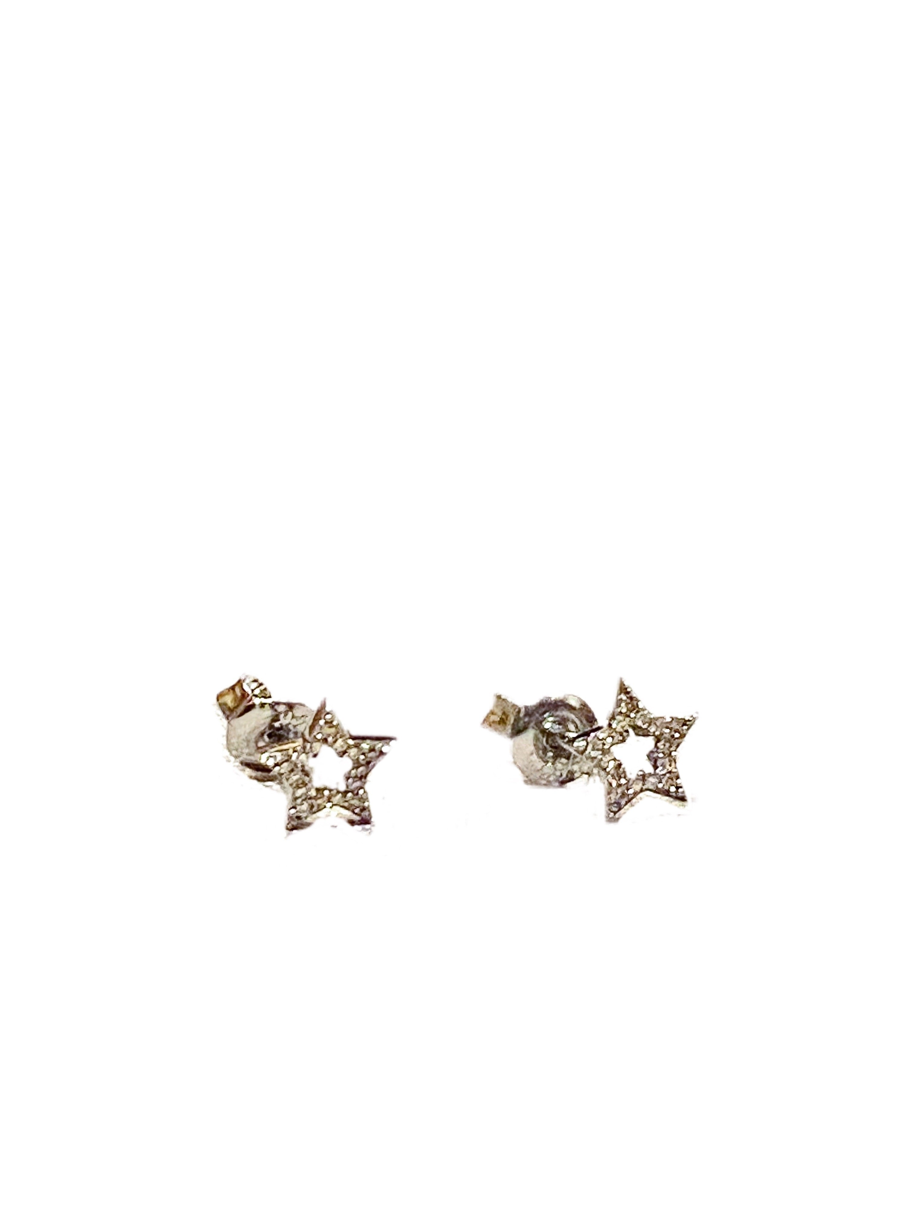S.Row Designs Sterling and Diamond Star Cut-Out Studs