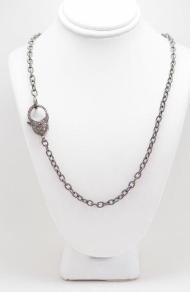 S.Row Designs Sterling Silver Chain Necklace with Pave Diamond Clasp