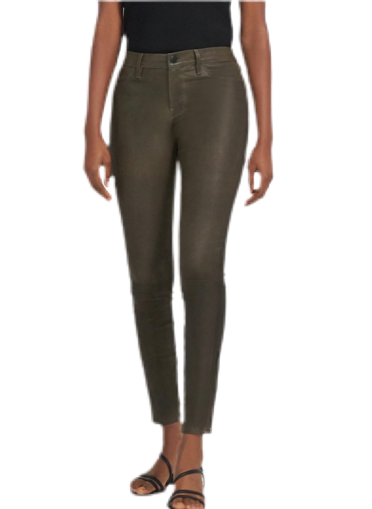 J Brand Mid Rise Skinny Leather Pant in Olive