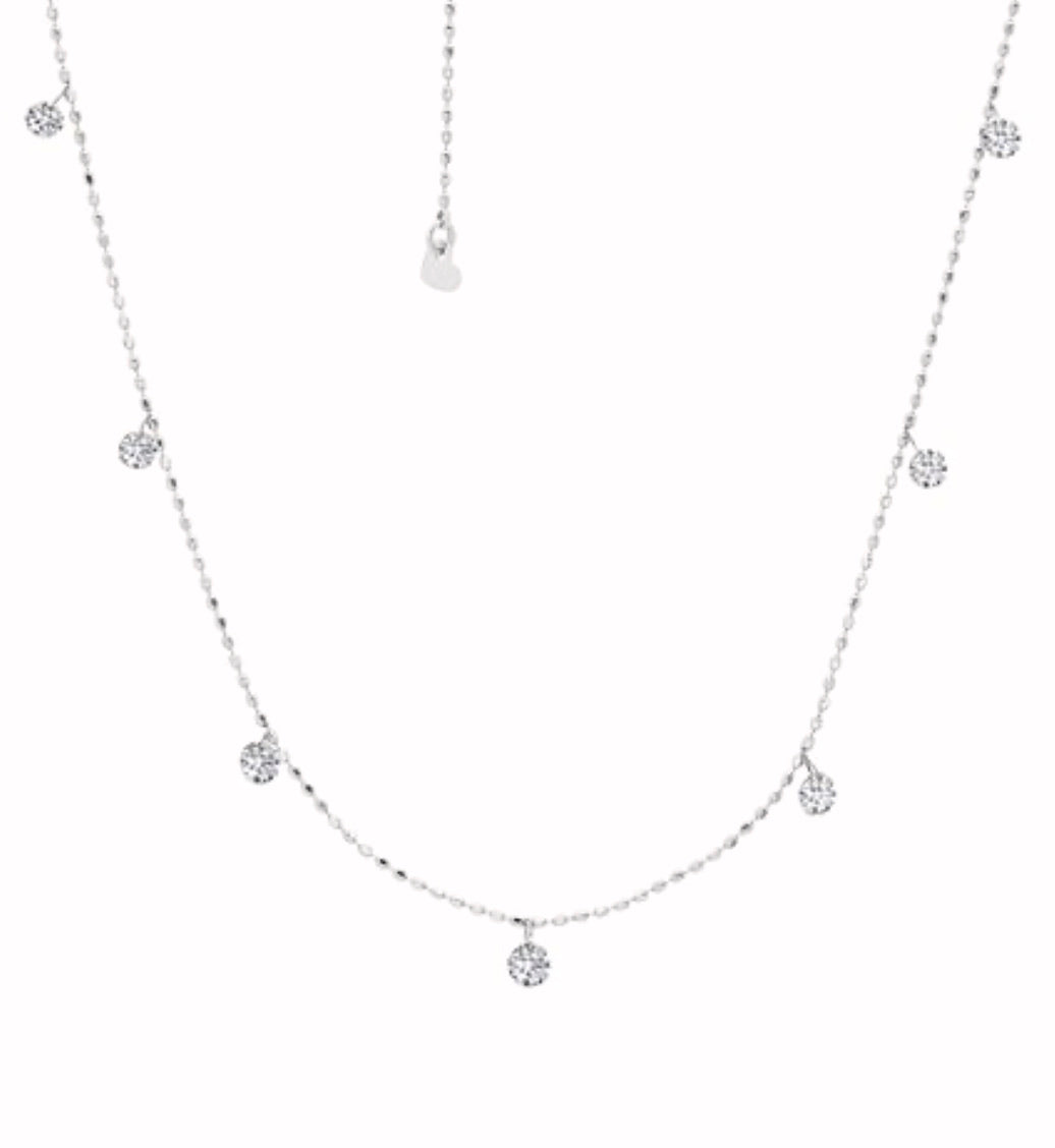 Graziela White Tiny Floating Diamond Necklace