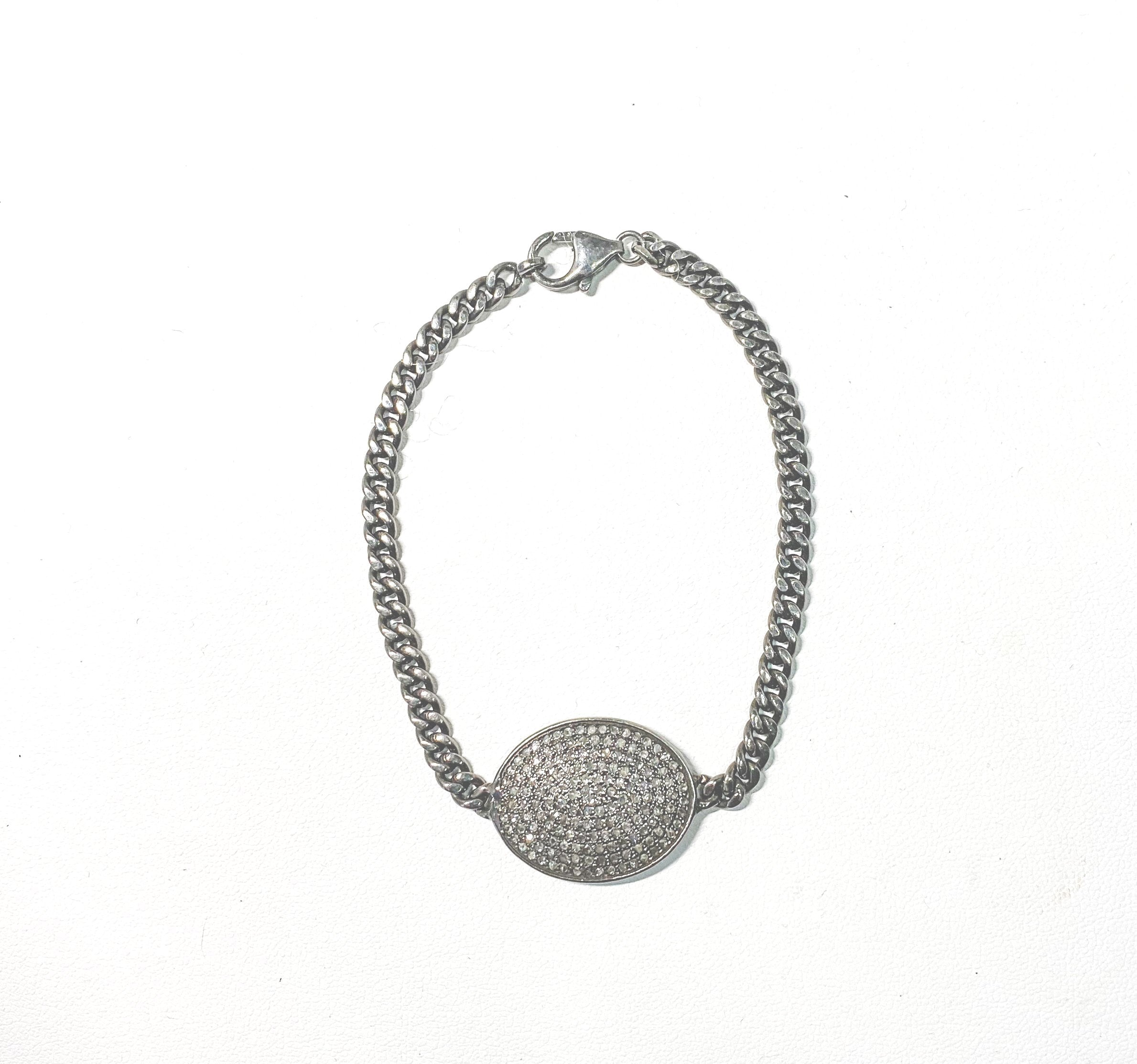 S.Row Designs Small Oval Pave Diamond Bracelet