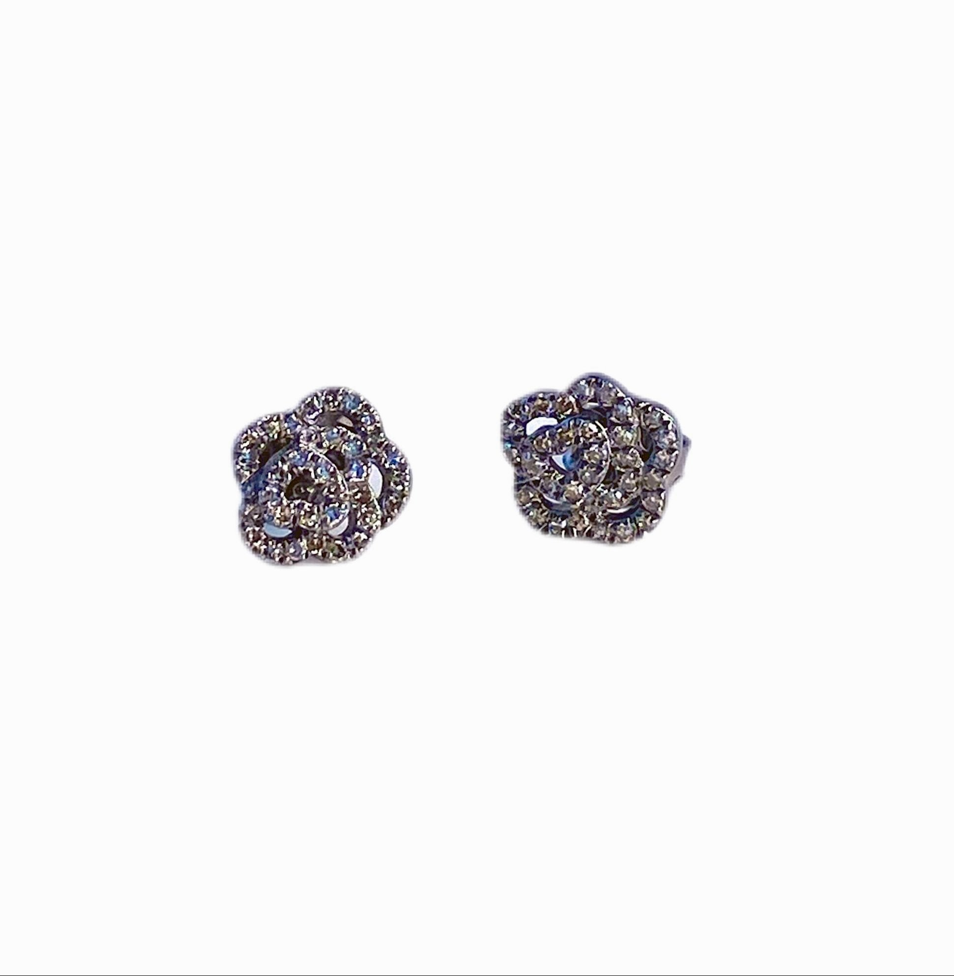 S.Row Designs Sterling and Diamond Rose Earrings
