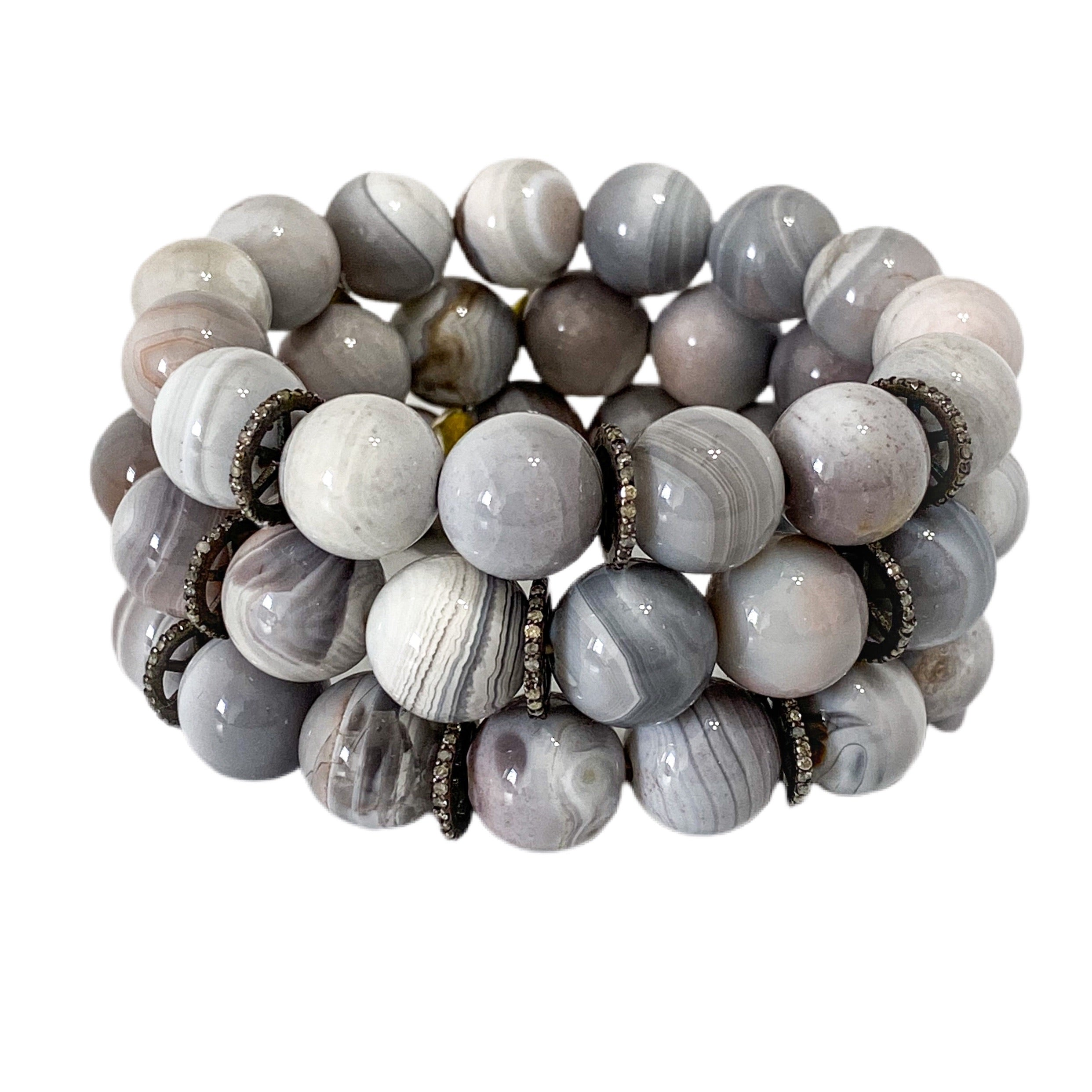 S.Row Designs Grey Banded Agate Bracelet