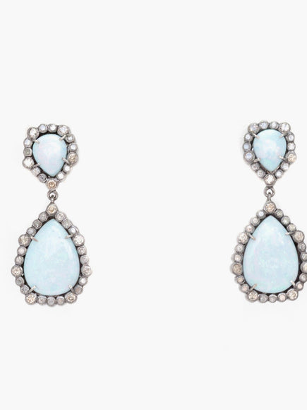 S. Row Designs Opal and Diamond Earrings
