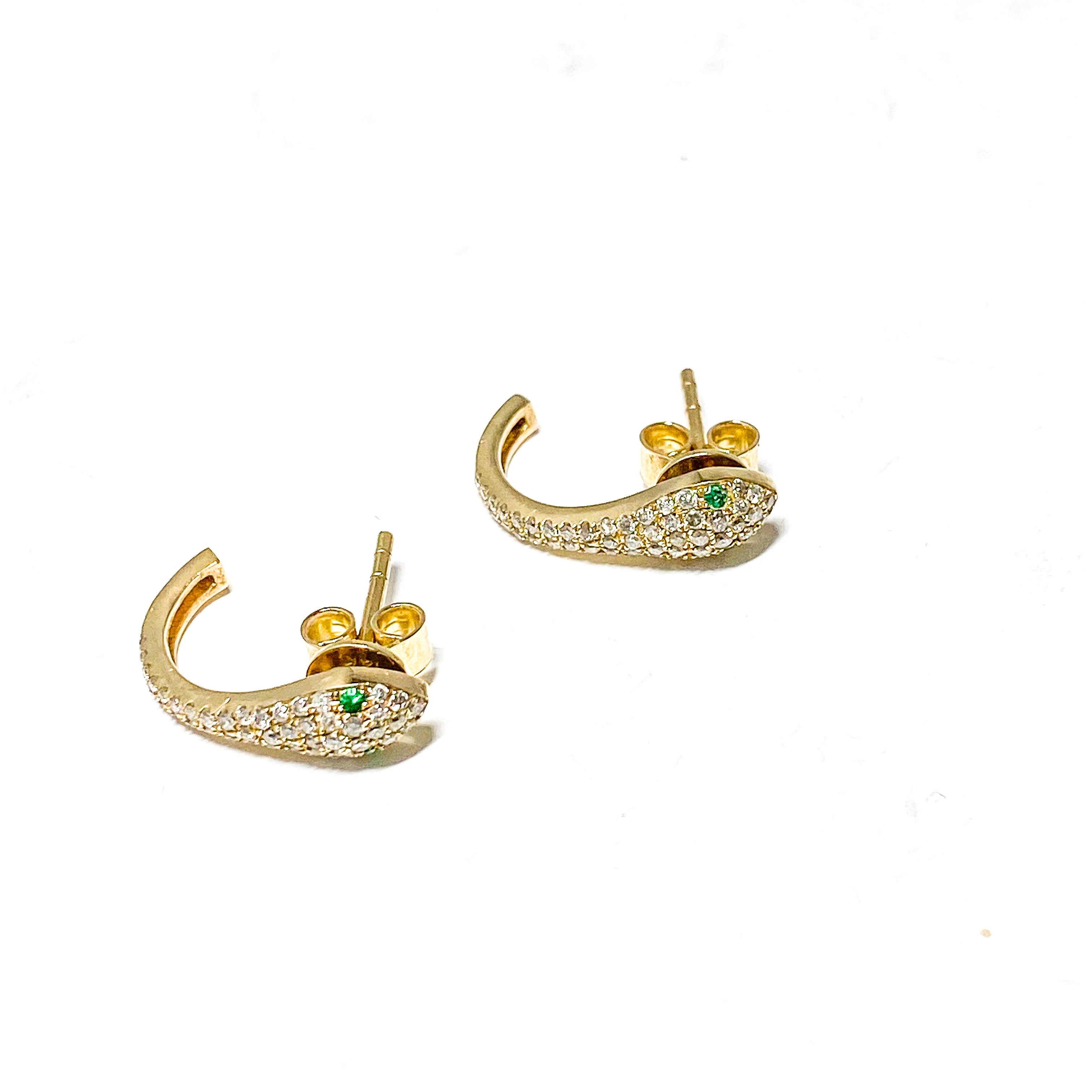 S.Row Designs 14k Gold Snake Huggie Earrings